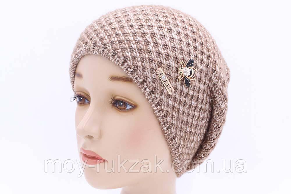 шапка вязаная женская соты бежевый 904452 в категории шапки на