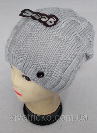 Шапка вязаная женская зимняя, утеплитель флис м 6143, разные цвета