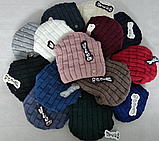Шапка вязаная женская зимняя, утеплитель флис м 6143, разные цвета, фото 3