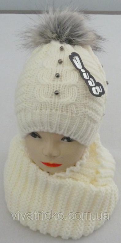 М 6154 Шапка и шарф хомут теплый , разные цвета
