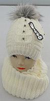 М 6154 Шапка и шарф хомут теплый , разные цвета, фото 1