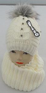 Шапка и шарф хомут теплый м 6154, разные цвета