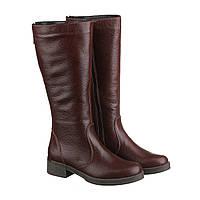 Сапоги женские зимние кожаные бордовые vm-2517-07