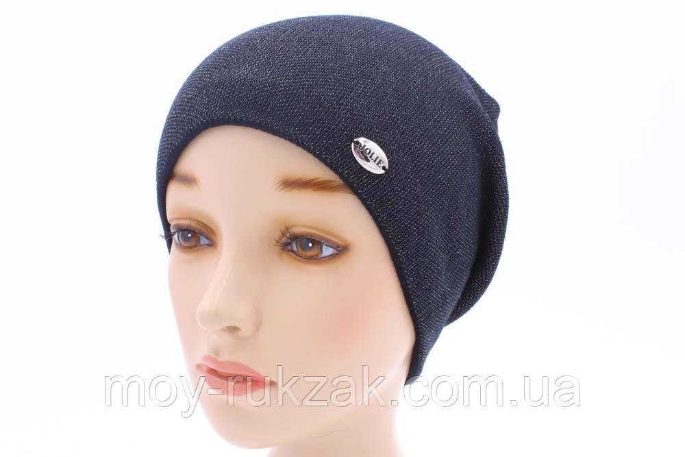 шапка вязаная женская симона синее серебро 904392 в категории