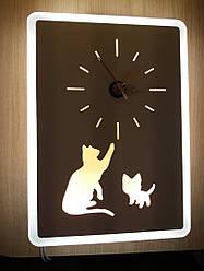 """Настенные часы с подсветкой """"Котики"""""""