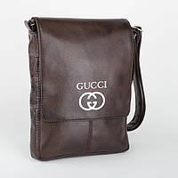 Мужская глянцевая сумка с вышивкой на плечо