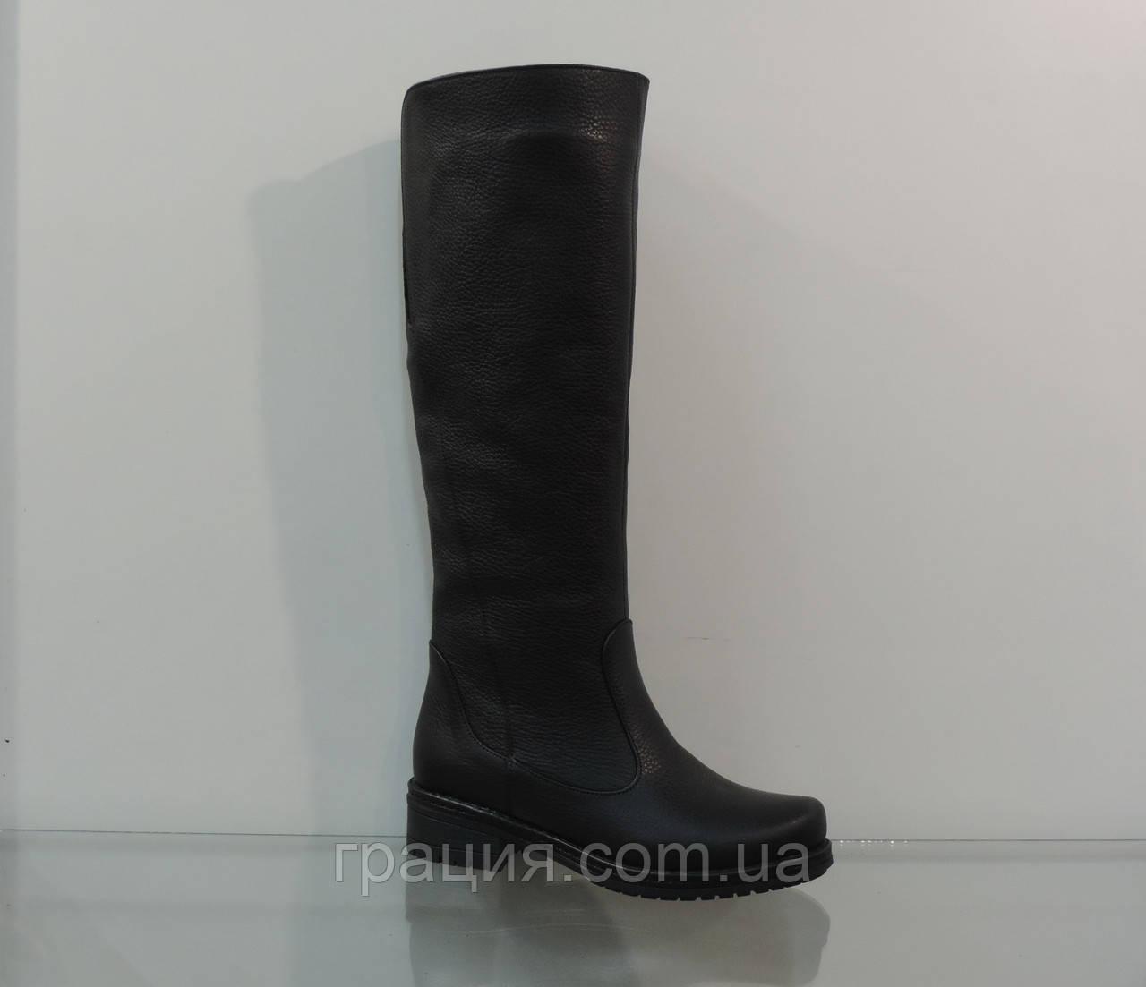 Зимові жіночі шкіряні чобітки чорні