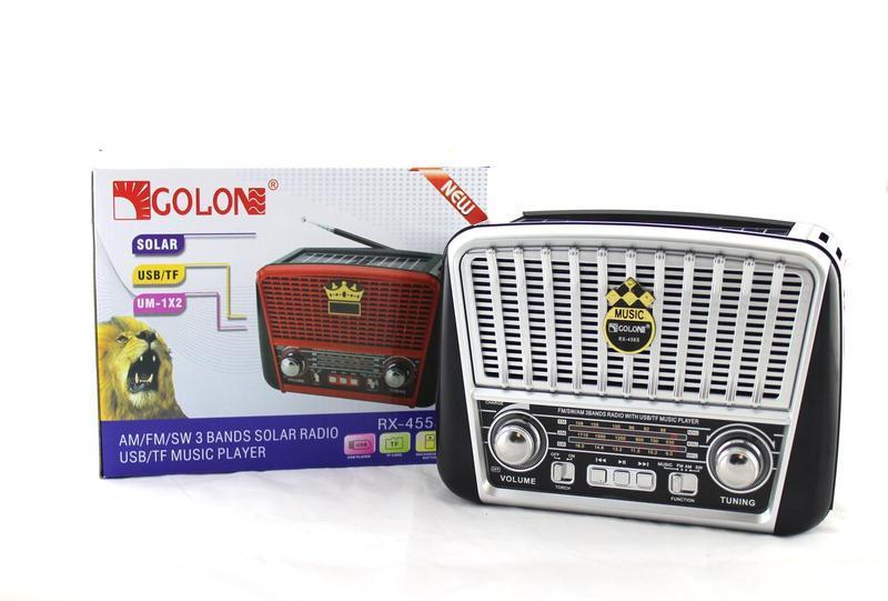 Радио RX 456 Solar,Радиоприемник Golon RX-456 Solar c Фонариком и Солнечной Панелью MP3 USB FM SD
