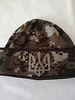 Вязанная шапка с подворотом и гербом Украины(пиксель)