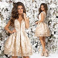 Вечернее платье с рукавами из сеточки. Бежевое, 4 цвета. Р-ры: 42,44,46.