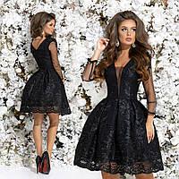 Вечернее платье с рукавами из сеточки. Чёрное, 4 цвета. Р-ры: 42,44,46.