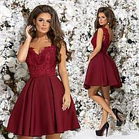 Шикарное короткое платье подъюбник из фатина. Бордовое, 5 цветов.