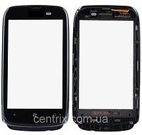 Тачскрин (сенсор) для Nokia 610 Lumia, черный, с передней панелью черного цвета