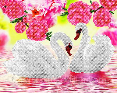 """Заготовка для вишивки бісером картина """"Лебеді"""" 32х26 см"""