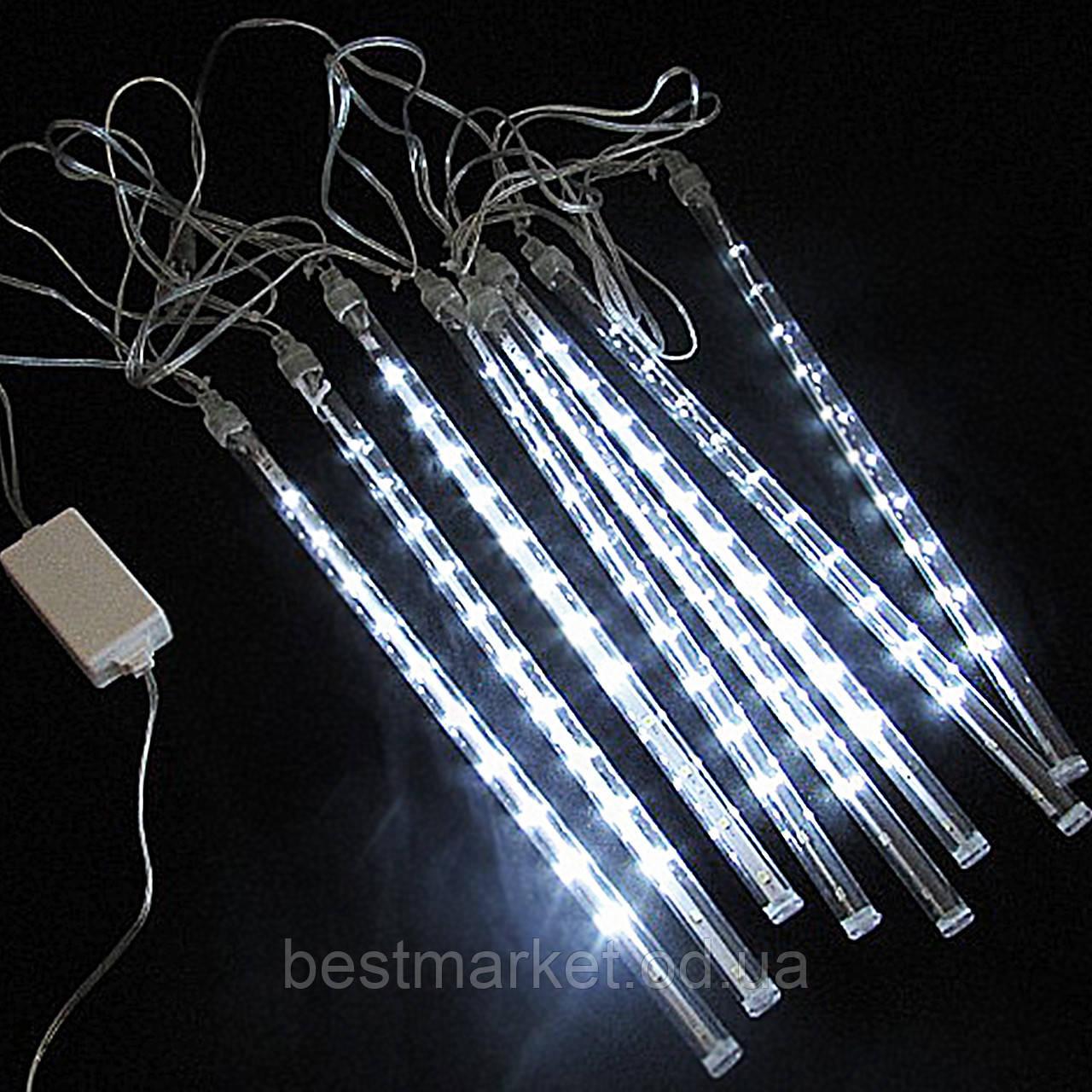 Новогодняя Светодиодная Гирлянда Тающие Сосульки LED 30 см 8 шт 3 х 0.3 м Белые