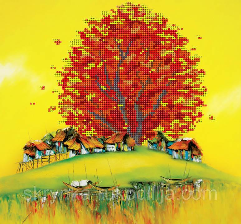 """Заготовка для вишивки бісером картина """"Східна осінь"""" 28х26 см"""