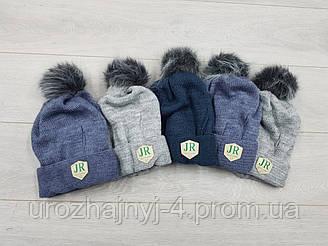 Вязаная шапка на флисе р46-48. Продается упаковкой 5шт разных цветов.
