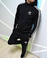 Костюм спортивный мужской черный с начесом Адидас Adidas (РЕПЛИКА)