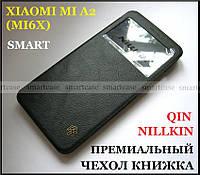 Черный смарт чехол с окошком для Xiaomi MI A2 от Nillkin Qin в коже PU