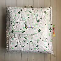 """Постельный набор в детскую кроватку (8 предметов) Premium """"Звездочка"""" белый с зелеными звездами, фото 1"""