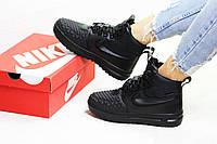 Кроссовки зимние женские в стиле Nike Lunar Force 1 Duckboot код товара SD1-6602. Черные