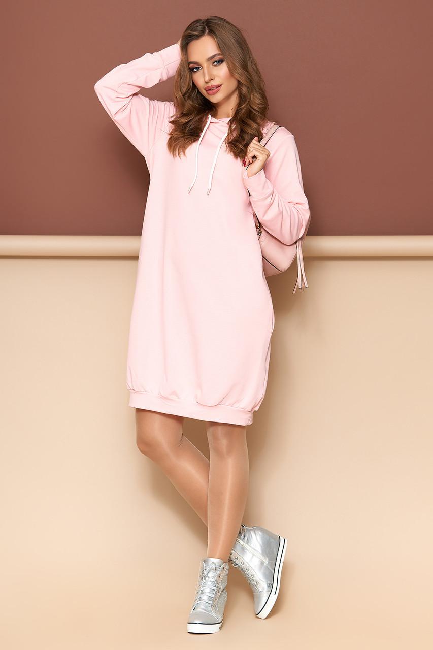 Платье оверсайз с капюшоном 44-54р розовое