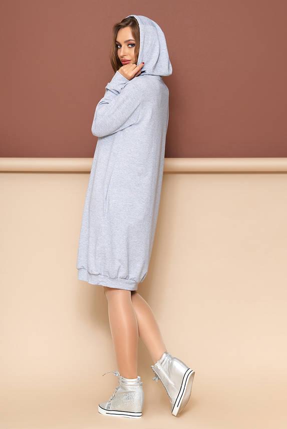 Платье оверсайз с капюшоном 44-54р серое, фото 2