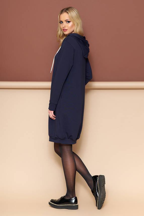 Трикотажное платье оверсайз с капюшоном 44-54р синее, фото 2