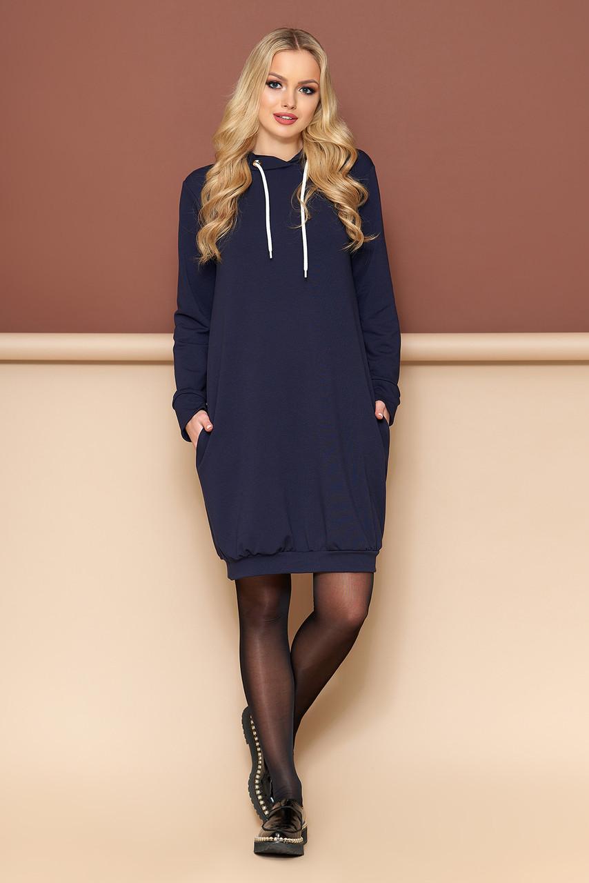Трикотажное платье оверсайз с капюшоном 44-54р синее