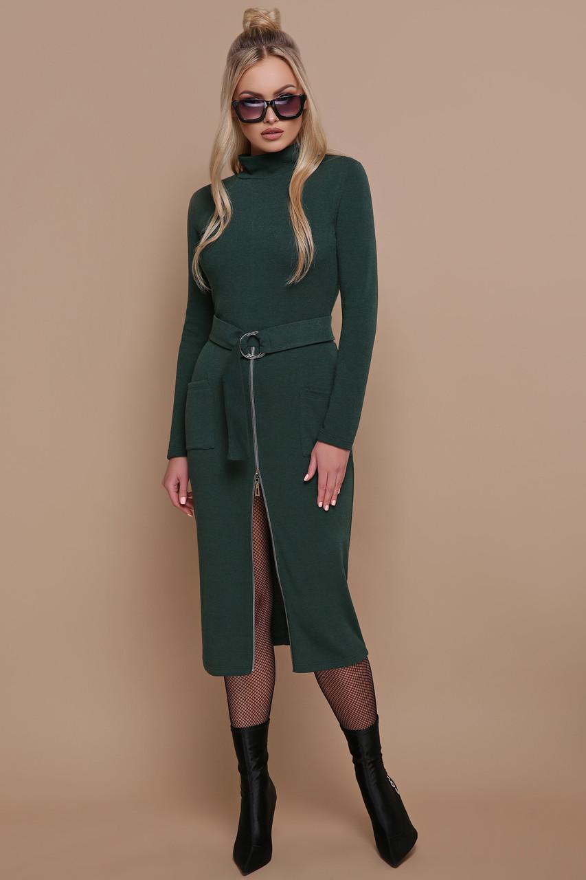 Стильное теплое платье ниже колена черное зеленое бордо S M