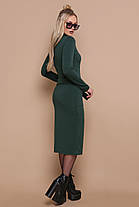 Стильное теплое платье ниже колена черное зеленое бордо S M , фото 3