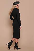 Стильное теплое платье ниже колена черное зеленое бордо S M , фото 2