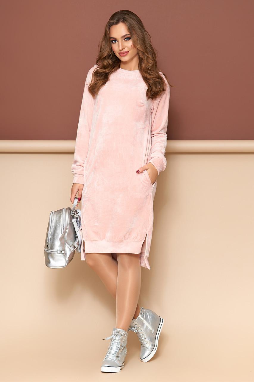 Бархатное платье оверсайз розовое