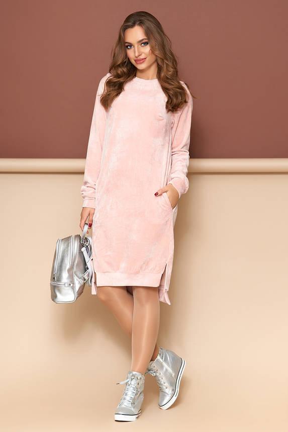 Бархатное платье оверсайз розовое, фото 2