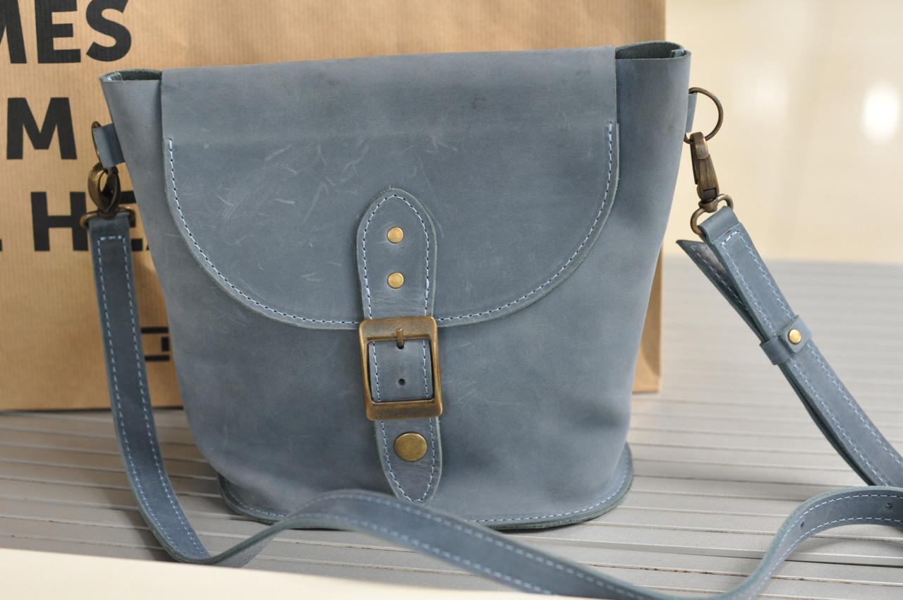b604c5b714ef Компактная кожаная сумка на плече. 07009/голубой, цена 1 640 грн., купить в  Луцке — Prom.ua (ID#799748366)