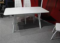 Стол обеденный раскладной TM-170 с белым матовым стеклом, вставка белое МДФ 120-160х80х76 Н