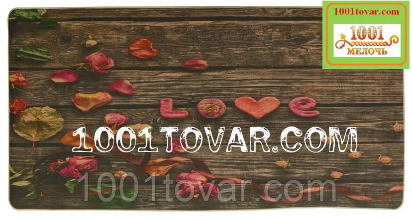 "Кухонный коврик из льна на резиновой основе ""Love"" 140х70х0,5 см."