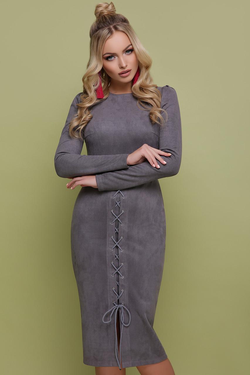 Стильное красивое платье ниже колена замшевое на шнуровке S M L