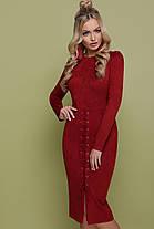 Стильное красивое платье ниже колена замшевое на шнуровке S M L, фото 2