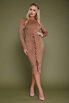 Стильное красивое платье ниже колена замшевое на шнуровке S M L, фото 3