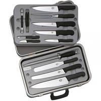 Набор кухонных ножей Victorinox Fibrox (14 предметов), черный, в кейсе 5.4913