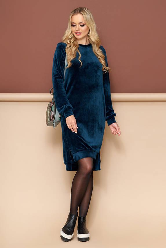 Велюровое платье оверсайз бирюзовое, фото 2