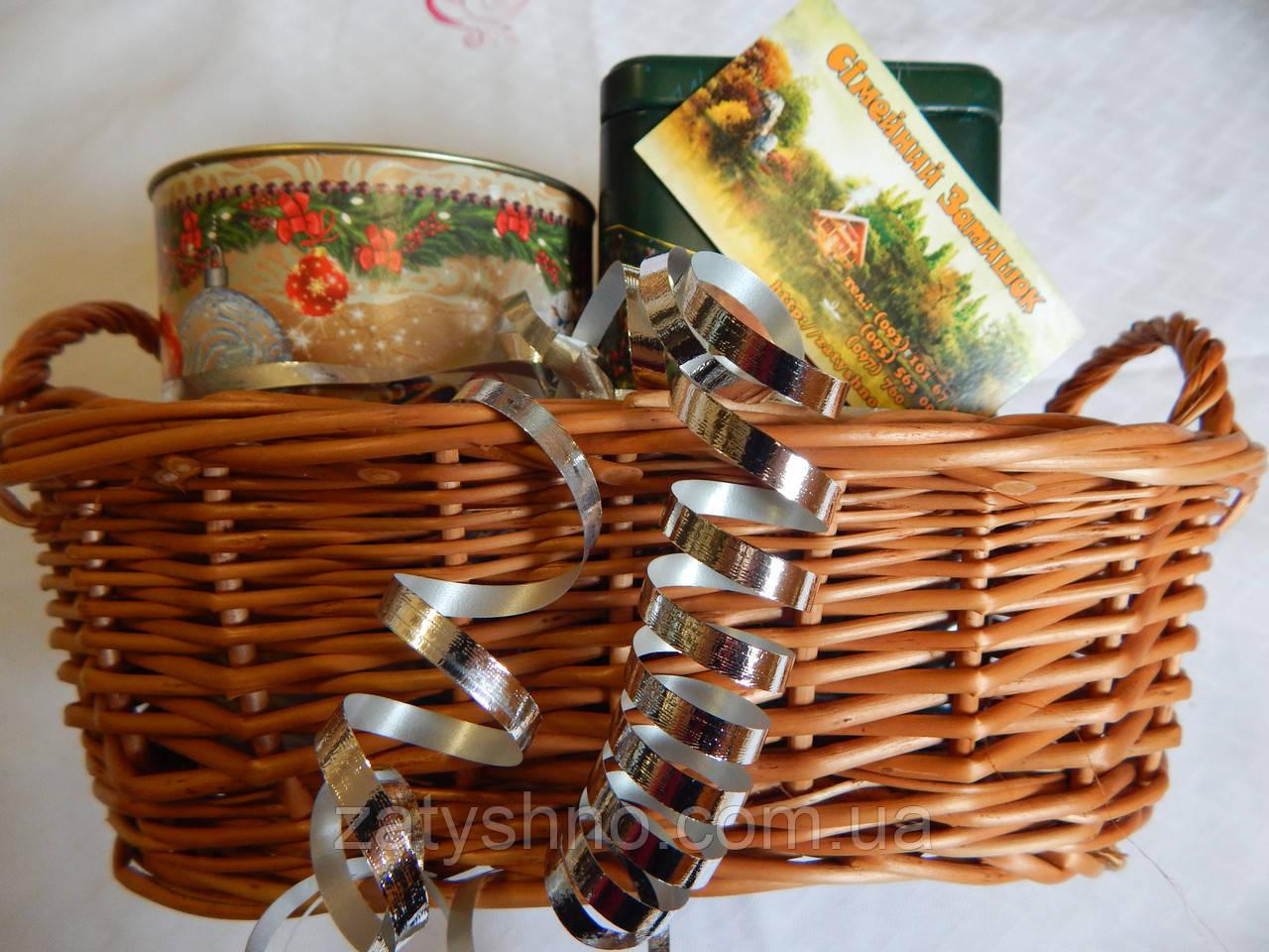 Плетеная корзина с ручками для подарков