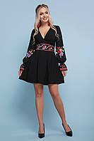 Нарядное черное платье с вышивкой и V - образным вырезом S M L