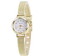 Граненые маленькие женские часы золото часики стальные