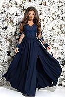 Женское красивоевечернее платье в пол с гипюровым верхом июбкой с разрезом 42,44,46