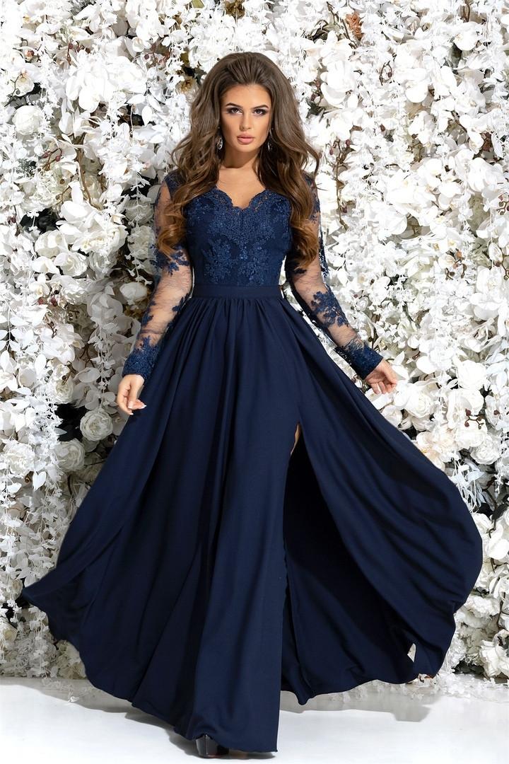 94c13e3c1d4 Женское красивое вечернее платье в пол с гипюровым верхом и юбкой с  разрезом 42