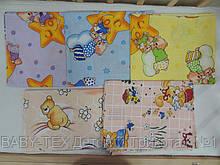 Комплект детского постельного белья на резинке для новорожденного 3 в 1 бязь