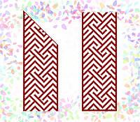 K-261 Красный орнамент. Confetti. Водорастворимый флизелин с рисунком