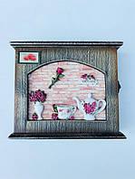 Ключница настенная чайная Роза, фото 1